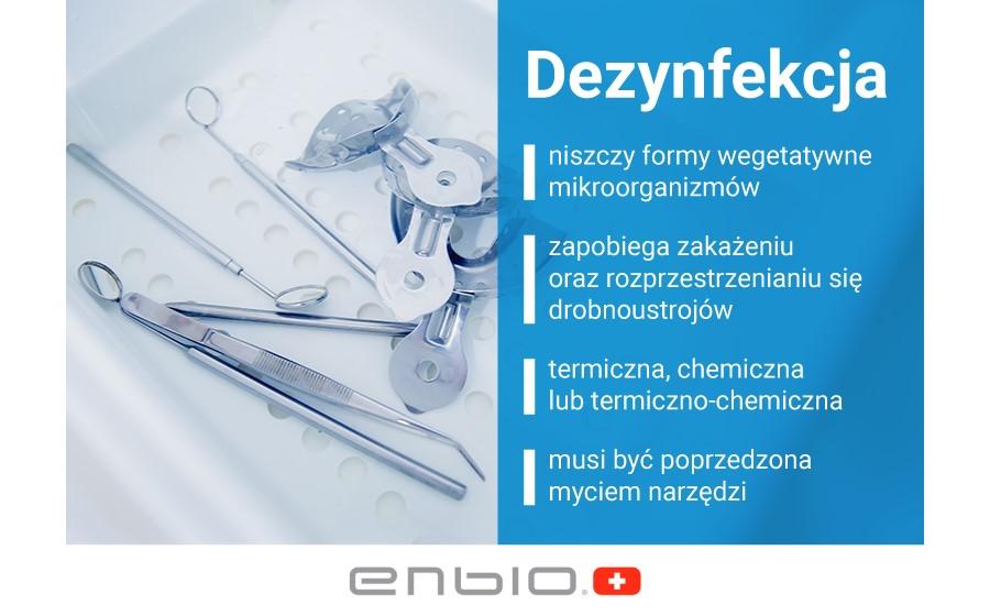 Infografika na temat zasad działania dezynfekcji.