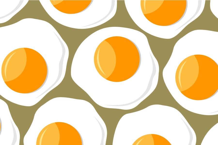Grafika 2D przedstawiająca jajka sadzone na ciemnym tle.