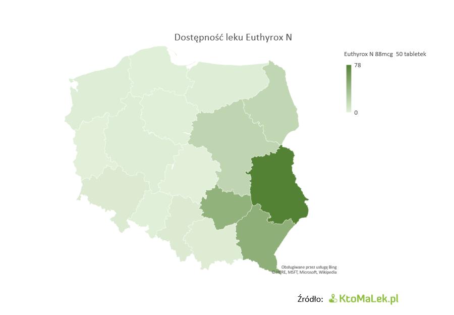 Niska dostępność Euthyrox N 88 mapa Polski