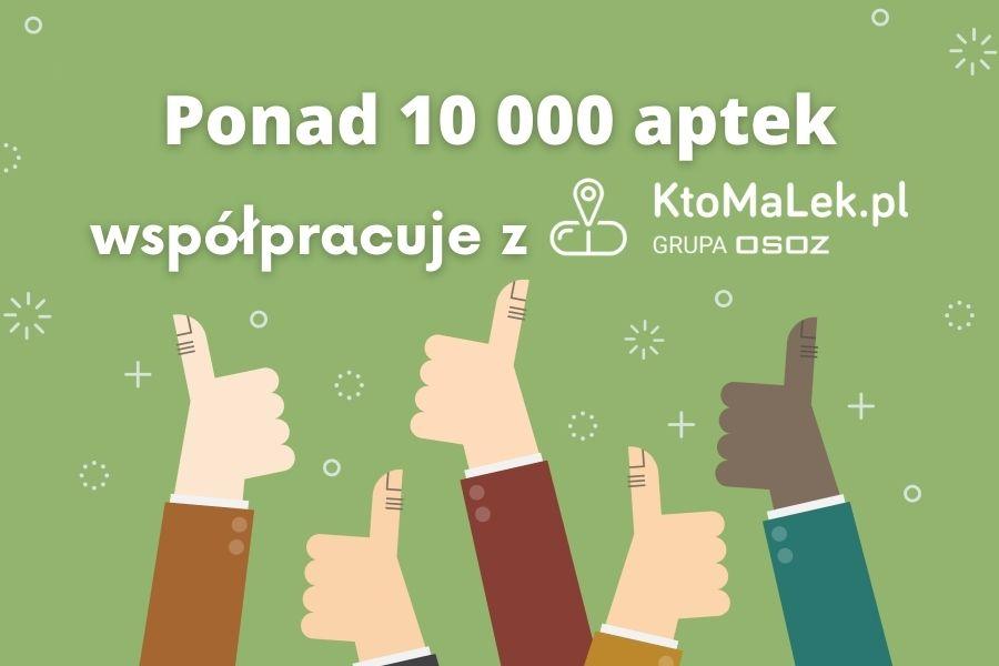 Grafika informująca o tym, że w bazie serwisu KtoMaLek.pl jest już ponad 10 000 aptek.