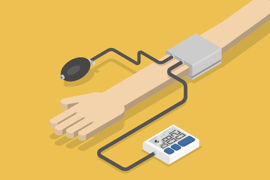 Żółte tło, rysunkowa ręka z założonym ciśnieniomierzem pokazującym prawidłowe tętno i ciśnienie.