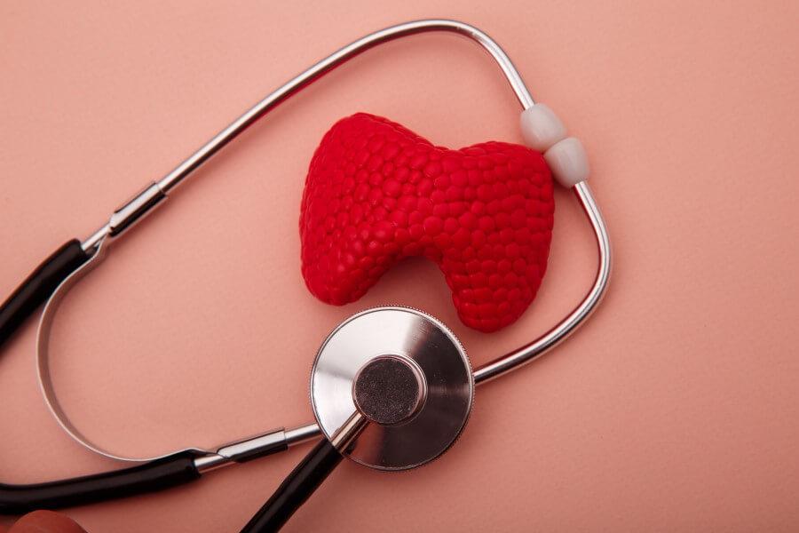 Plastikowy model tarczycy i stetoskop lekarski na różowym tle.