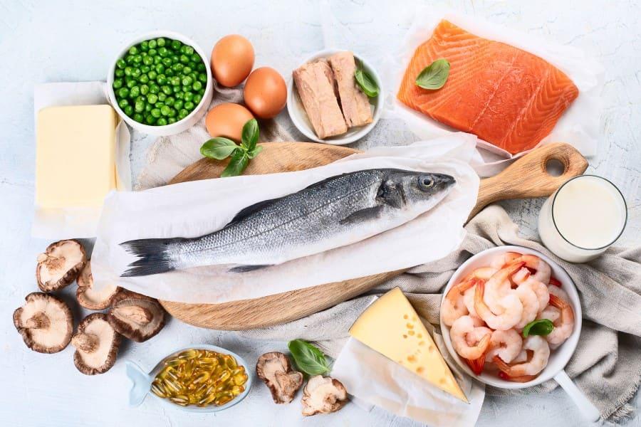 Źródła witaminy D3 w diecie - ryby, nabiał, grzyby,