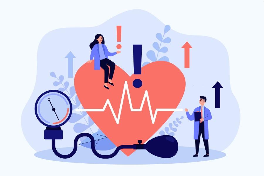 Rysunkowe postaci badają serce ciśnieniomierzem. Wykrywają wysokie tętno i alarmują o zagrożeniu.